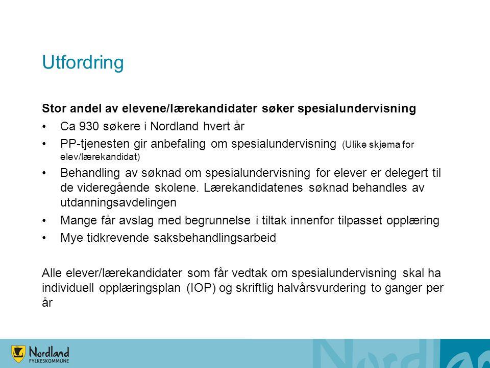 Utfordring Stor andel av elevene/lærekandidater søker spesialundervisning. Ca 930 søkere i Nordland hvert år.