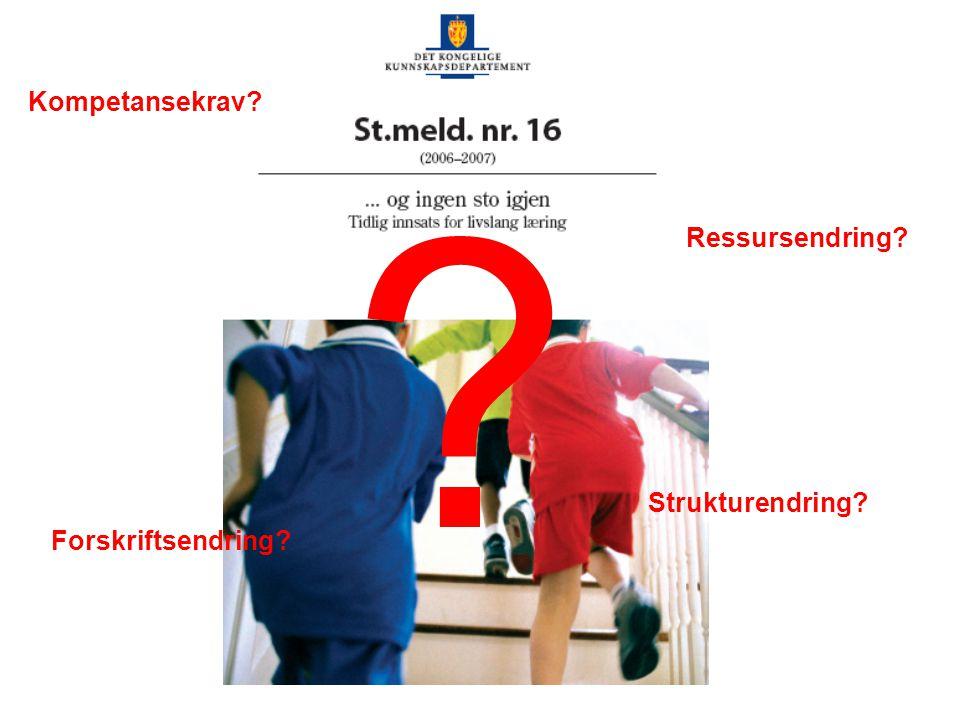 Kompetansekrav Ressursendring Strukturendring Forskriftsendring