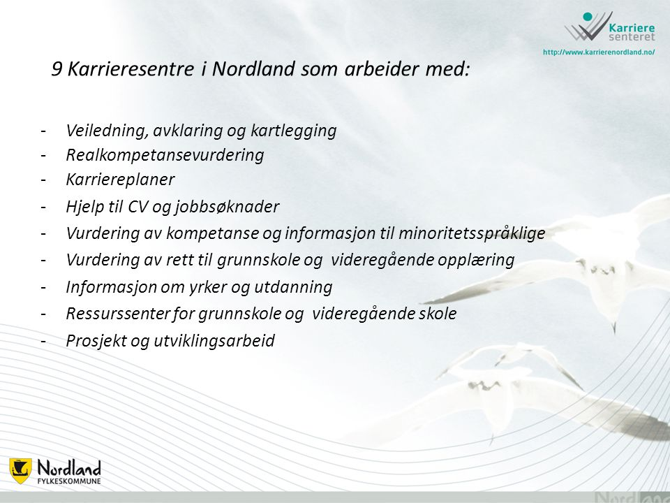 9 Karrieresentre i Nordland som arbeider med: