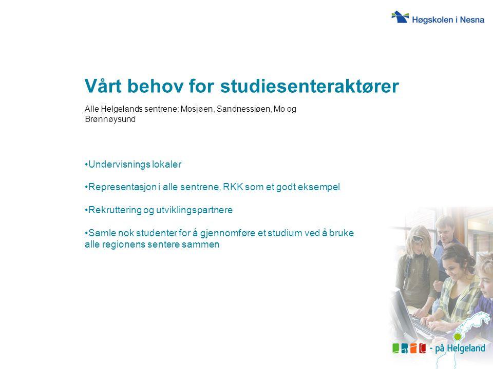 Vårt behov for studiesenteraktører