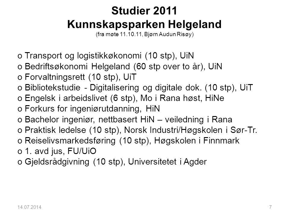Studier 2011 Kunnskapsparken Helgeland (fra møte 11. 10