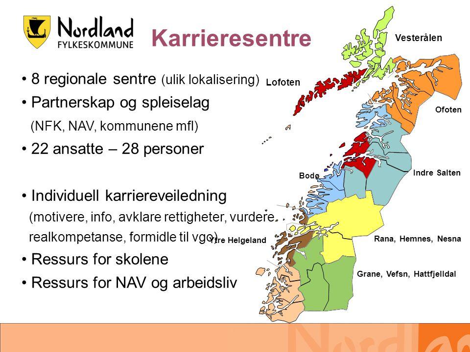 Karrieresentre 8 regionale sentre (ulik lokalisering)