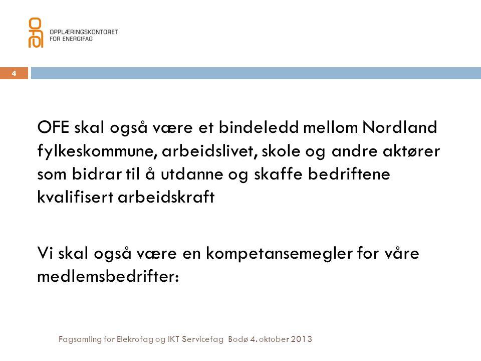 OFE skal også være et bindeledd mellom Nordland fylkeskommune, arbeidslivet, skole og andre aktører som bidrar til å utdanne og skaffe bedriftene kvalifisert arbeidskraft Vi skal også være en kompetansemegler for våre medlemsbedrifter: