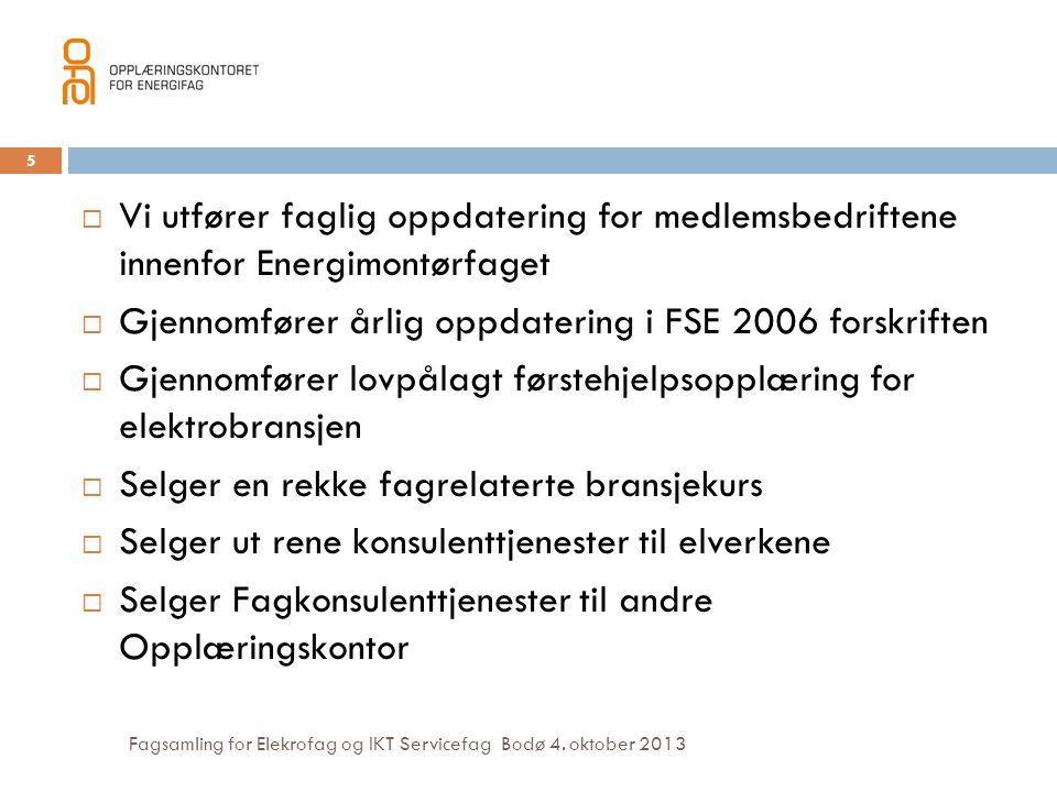 Gjennomfører årlig oppdatering i FSE 2006 forskriften
