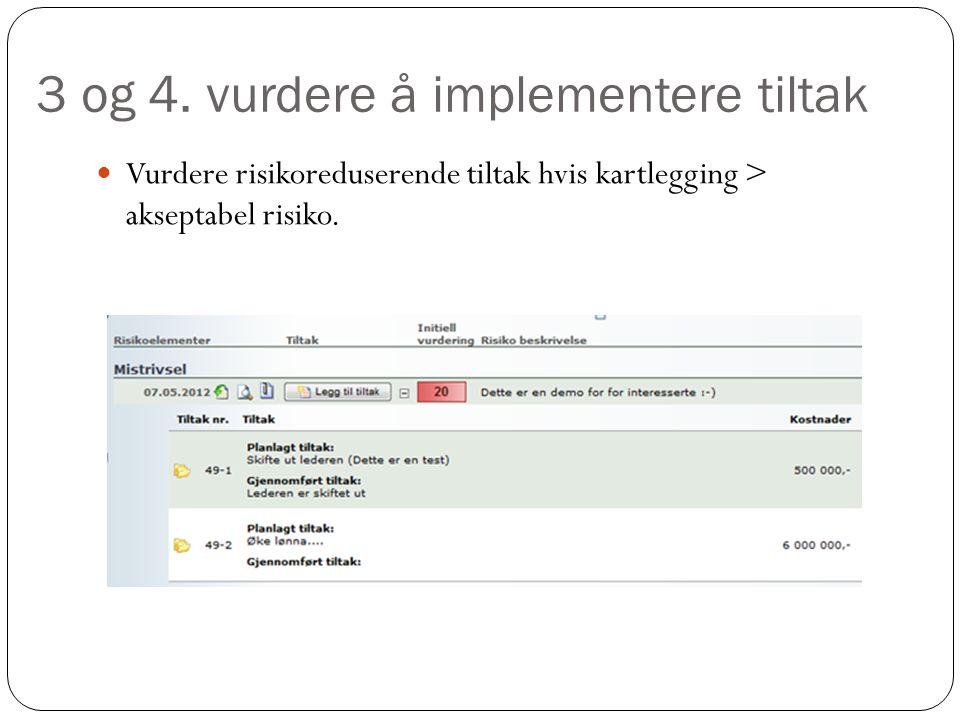 3 og 4. vurdere å implementere tiltak