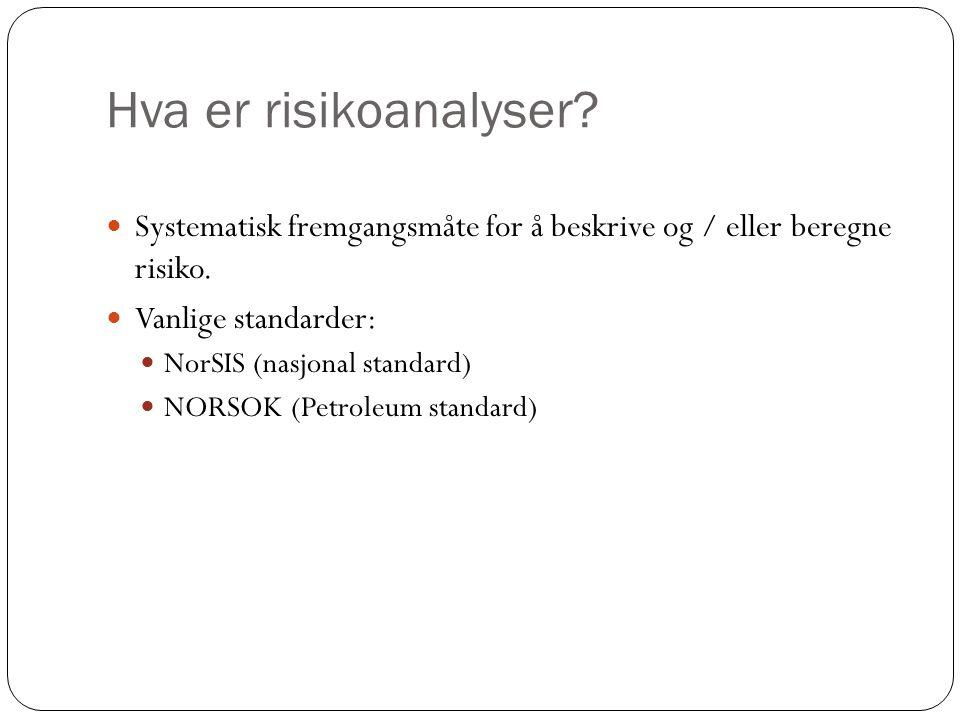 Hva er risikoanalyser Systematisk fremgangsmåte for å beskrive og / eller beregne risiko. Vanlige standarder: