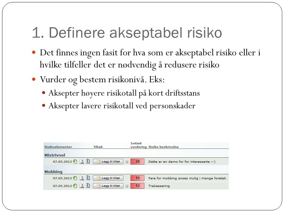 1. Definere akseptabel risiko
