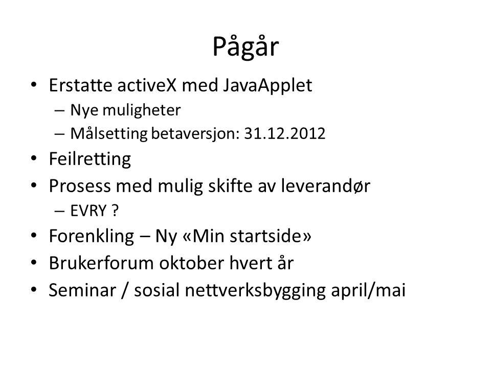 Pågår Erstatte activeX med JavaApplet Feilretting