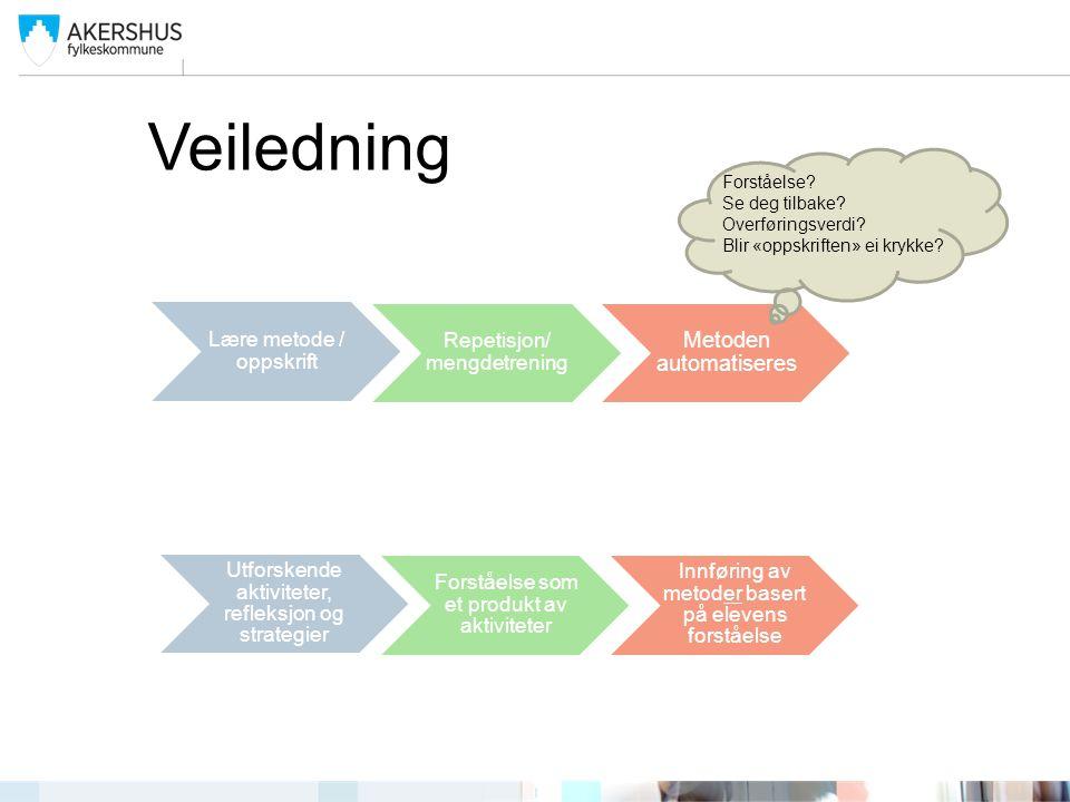 Veiledning Metoden automatiseres Lære metode / oppskrift