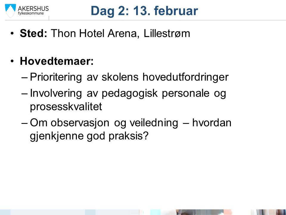 Dag 2: 13. februar Sted: Thon Hotel Arena, Lillestrøm Hovedtemaer: