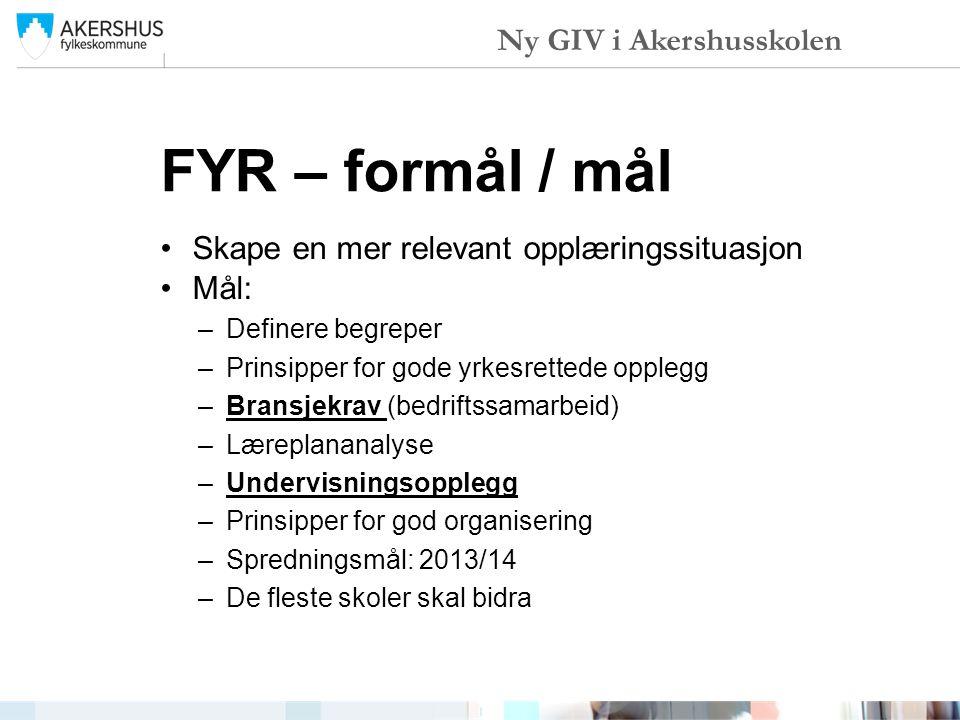 FYR – formål / mål Ny GIV i Akershusskolen
