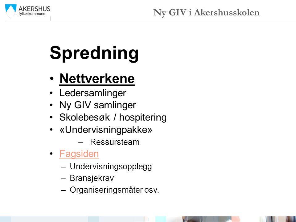 Spredning Nettverkene Ny GIV i Akershusskolen Ledersamlinger