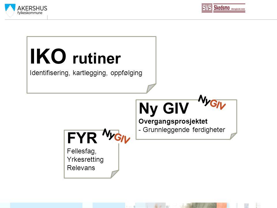 IKO rutiner Ny GIV FYR Identifisering, kartlegging, oppfølging