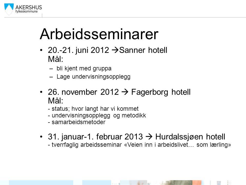 Arbeidsseminarer 20.-21. juni 2012 Sanner hotell Mål: