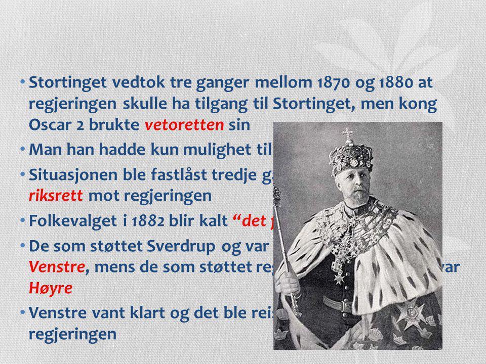 Stortinget vedtok tre ganger mellom 1870 og 1880 at regjeringen skulle ha tilgang til Stortinget, men kong Oscar 2 brukte vetoretten sin