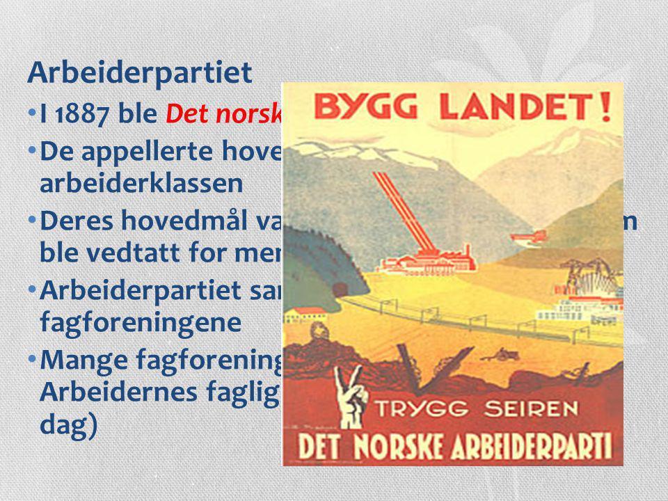 Arbeiderpartiet I 1887 ble Det norske Arbeiderparti stiftet