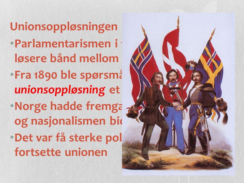 Unionsoppløsningen Parlamentarismen i 1884 førte til et løsere bånd mellom Norge og Sverige.