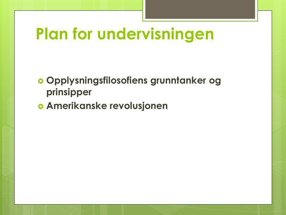 Plan for undervisningen