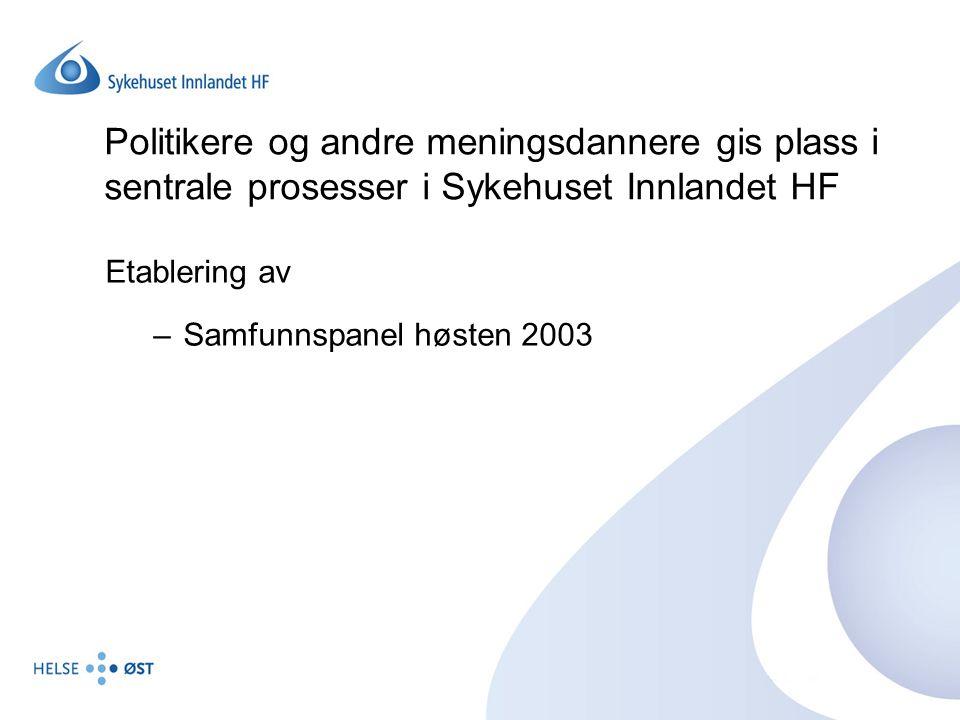 Politikere og andre meningsdannere gis plass i sentrale prosesser i Sykehuset Innlandet HF