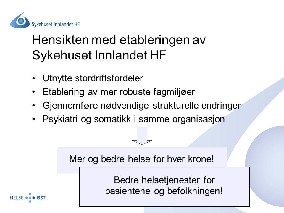 Hensikten med etableringen av Sykehuset Innlandet HF