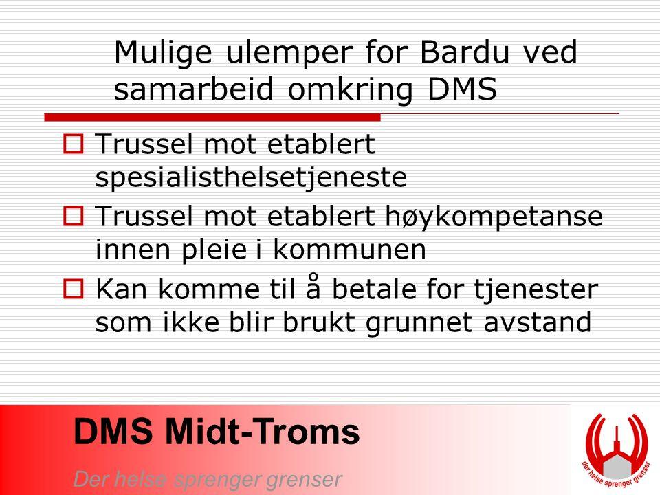 Mulige ulemper for Bardu ved samarbeid omkring DMS
