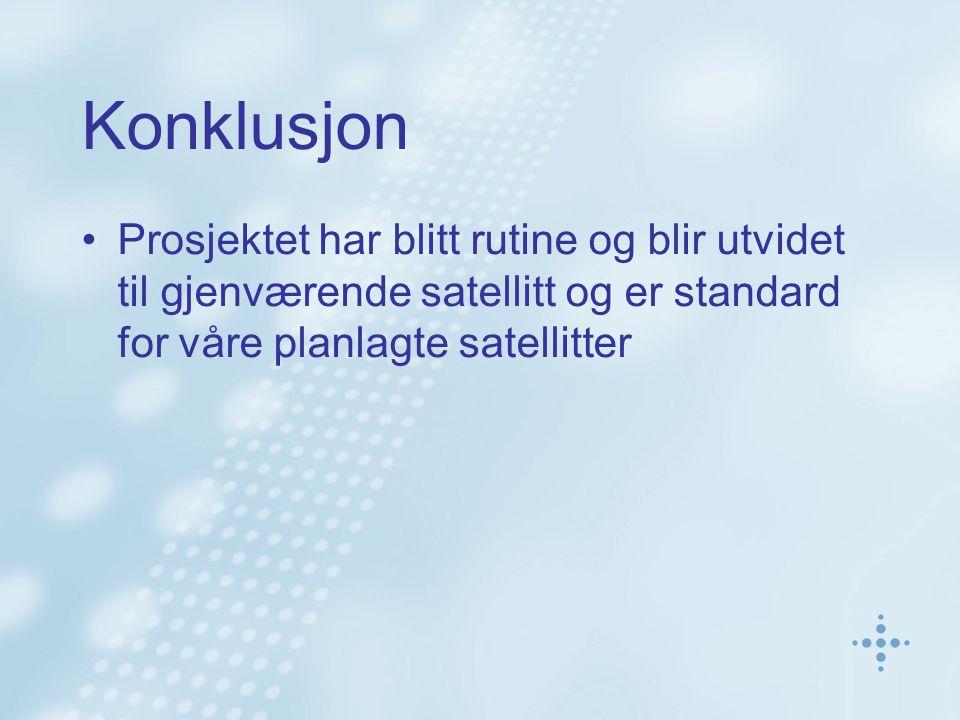 Konklusjon Prosjektet har blitt rutine og blir utvidet til gjenværende satellitt og er standard for våre planlagte satellitter.