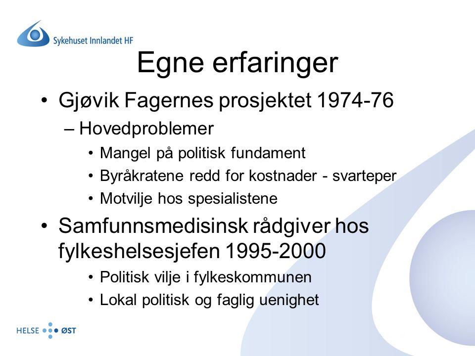 Egne erfaringer Gjøvik Fagernes prosjektet 1974-76
