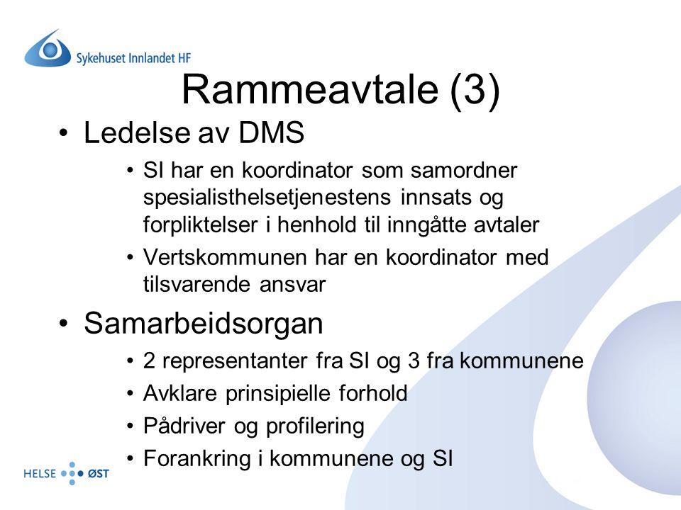 Rammeavtale (3) Ledelse av DMS Samarbeidsorgan
