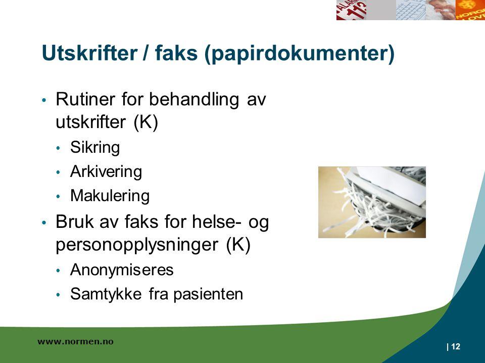Utskrifter / faks (papirdokumenter)