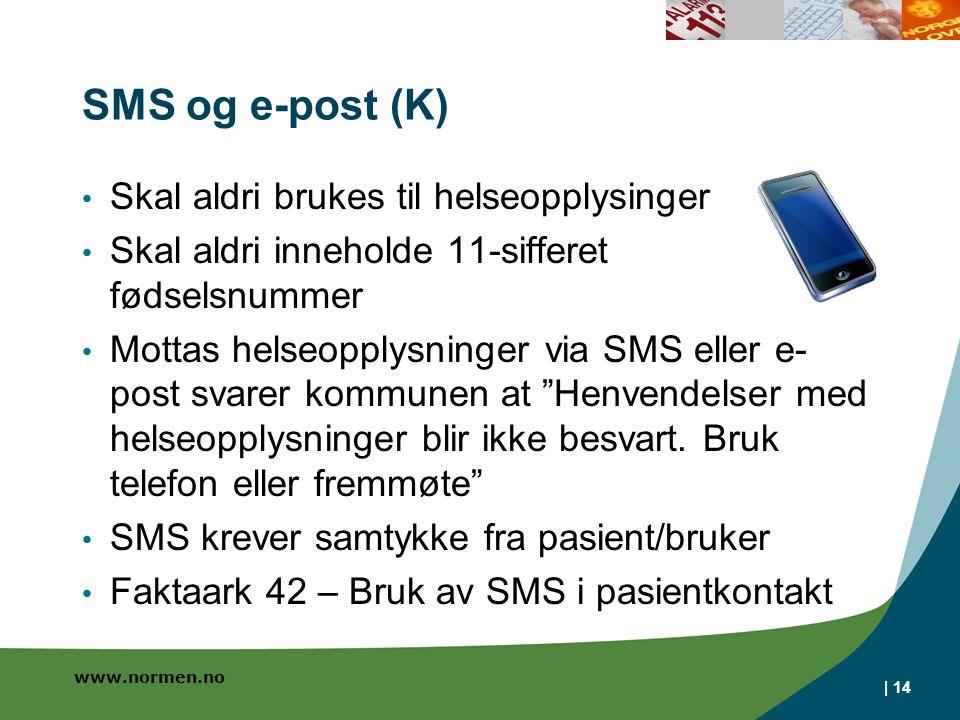 SMS og e-post (K) Skal aldri brukes til helseopplysinger
