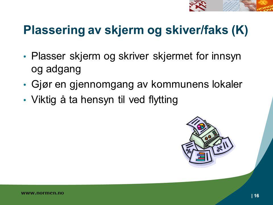 Plassering av skjerm og skiver/faks (K)