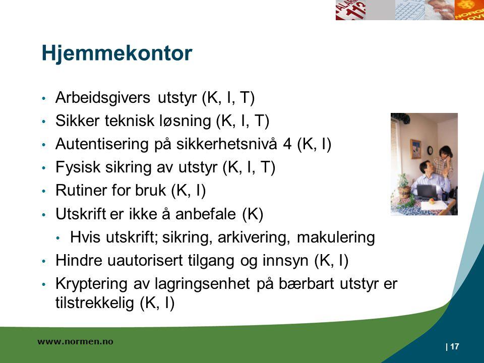 Hjemmekontor Arbeidsgivers utstyr (K, I, T)