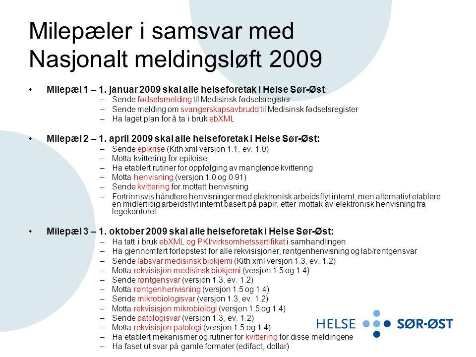 Milepæler i samsvar med Nasjonalt meldingsløft 2009