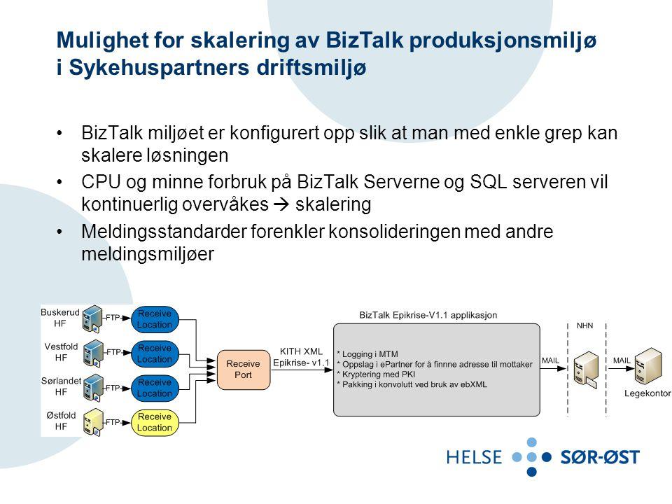 Mulighet for skalering av BizTalk produksjonsmiljø i Sykehuspartners driftsmiljø