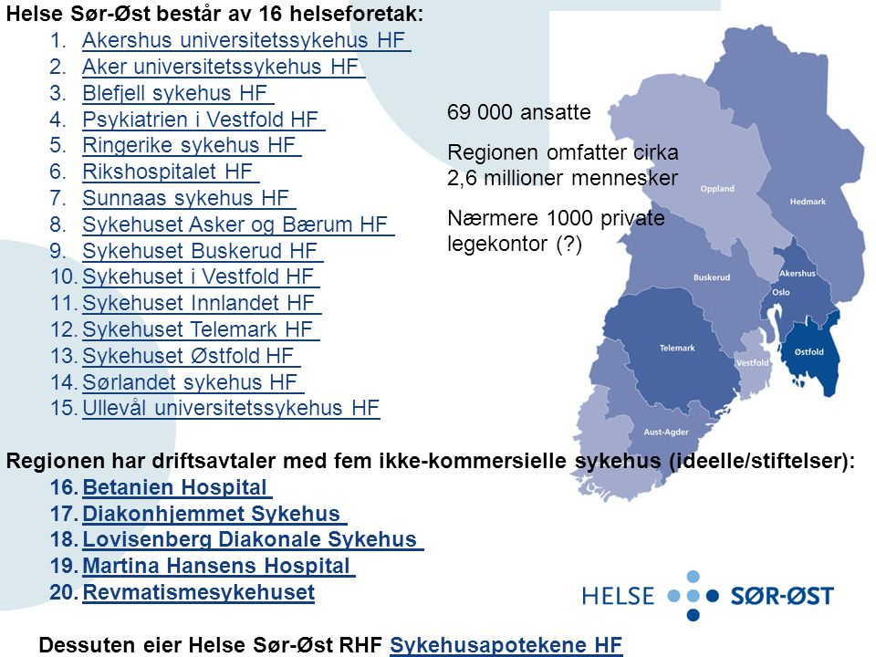 Helse Sør-Øst består av 16 helseforetak: