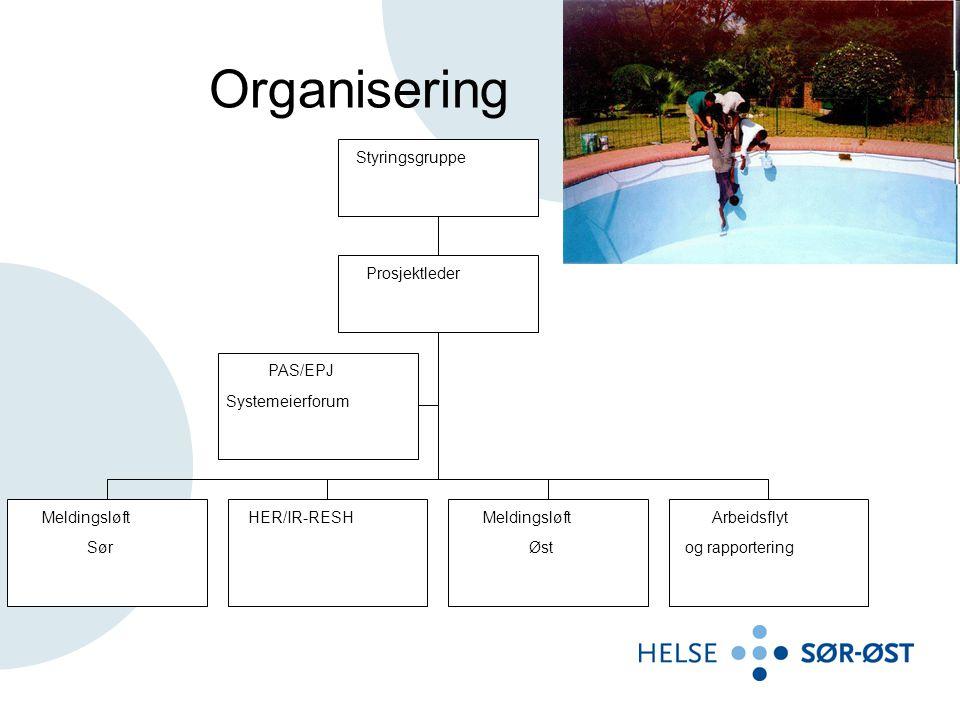 Organisering PAS/EPJ Systemeierforum Meldingsløft Sør HER/IR-RESH Øst