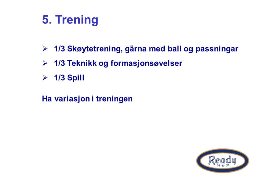 5. Trening 1/3 Skøytetrening, gärna med ball og passningar