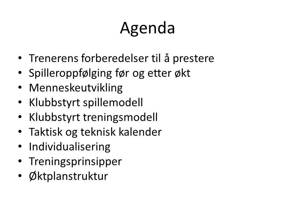 Agenda Trenerens forberedelser til å prestere