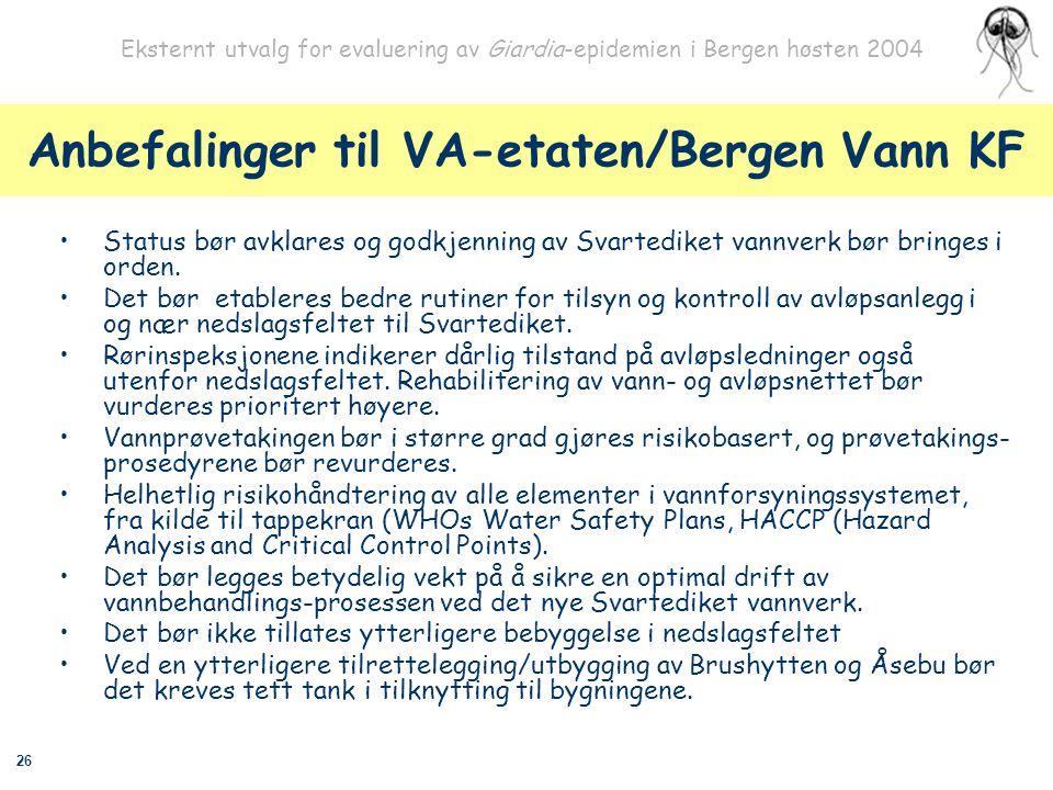 Anbefalinger til VA-etaten/Bergen Vann KF