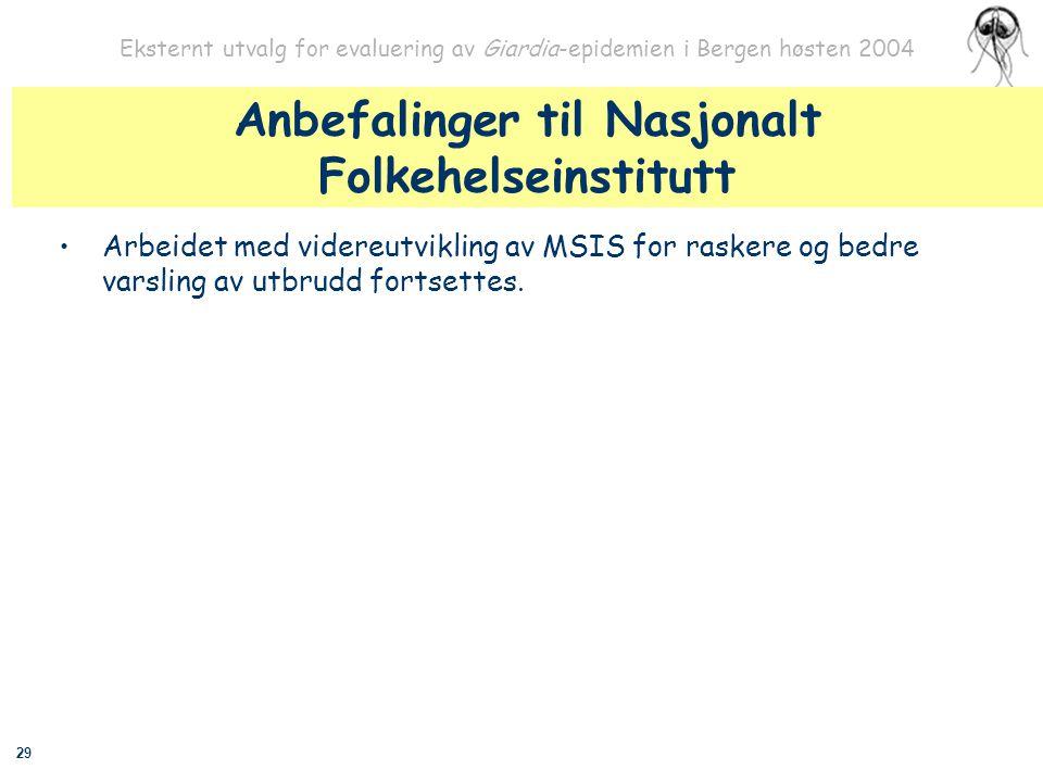 Anbefalinger til Nasjonalt Folkehelseinstitutt