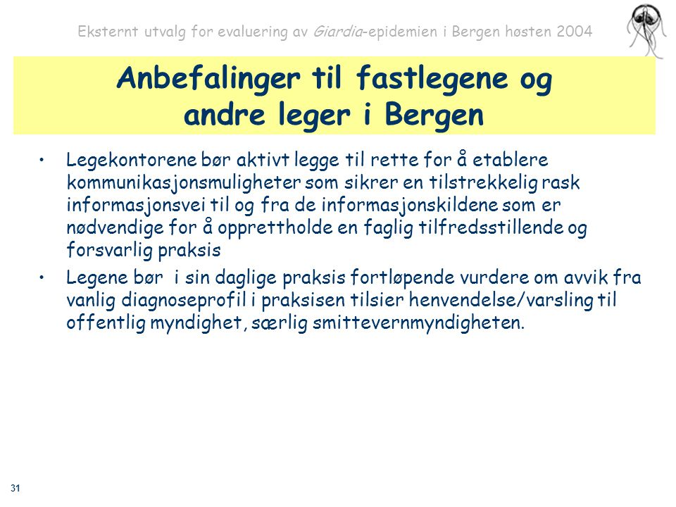 Anbefalinger til fastlegene og andre leger i Bergen