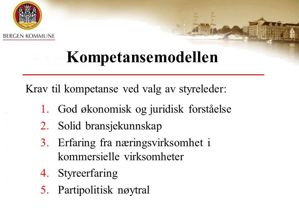 Kompetansemodellen Krav til kompetanse ved valg av styreleder: