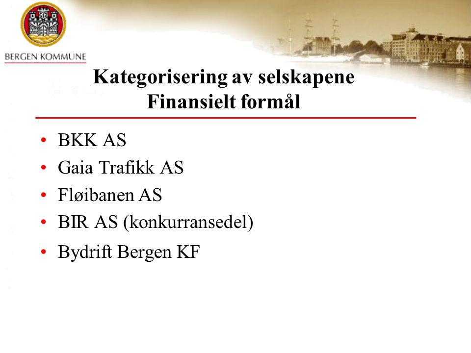 Kategorisering av selskapene Finansielt formål