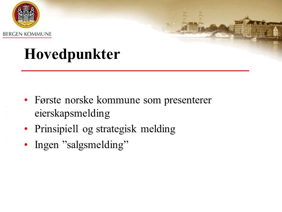 Hovedpunkter Første norske kommune som presenterer eierskapsmelding