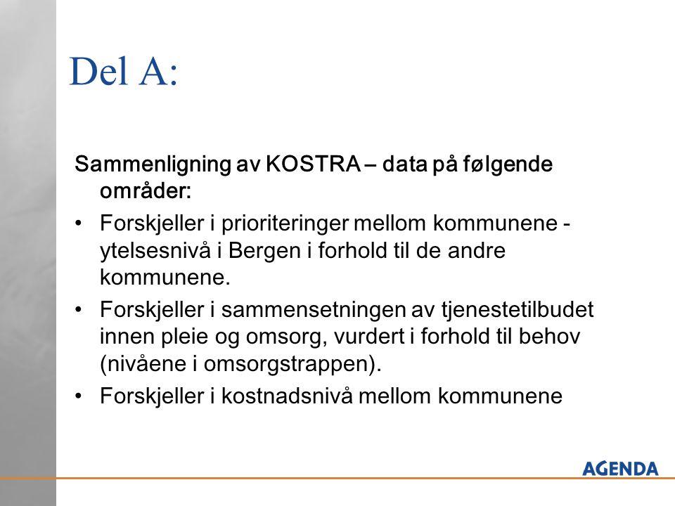 Del A: Sammenligning av KOSTRA – data på følgende områder: