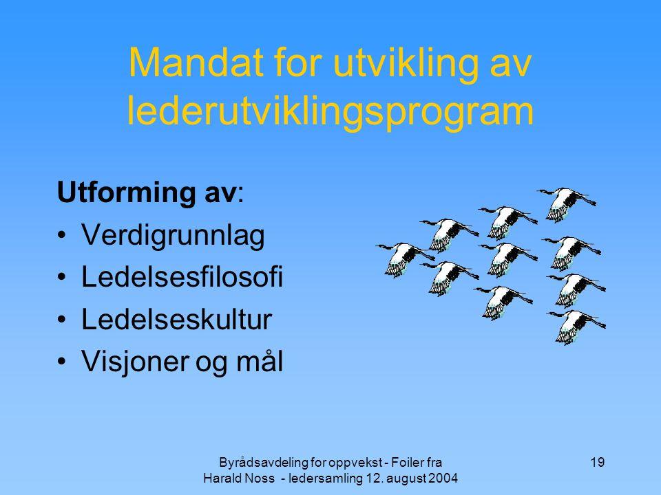 Mandat for utvikling av lederutviklingsprogram