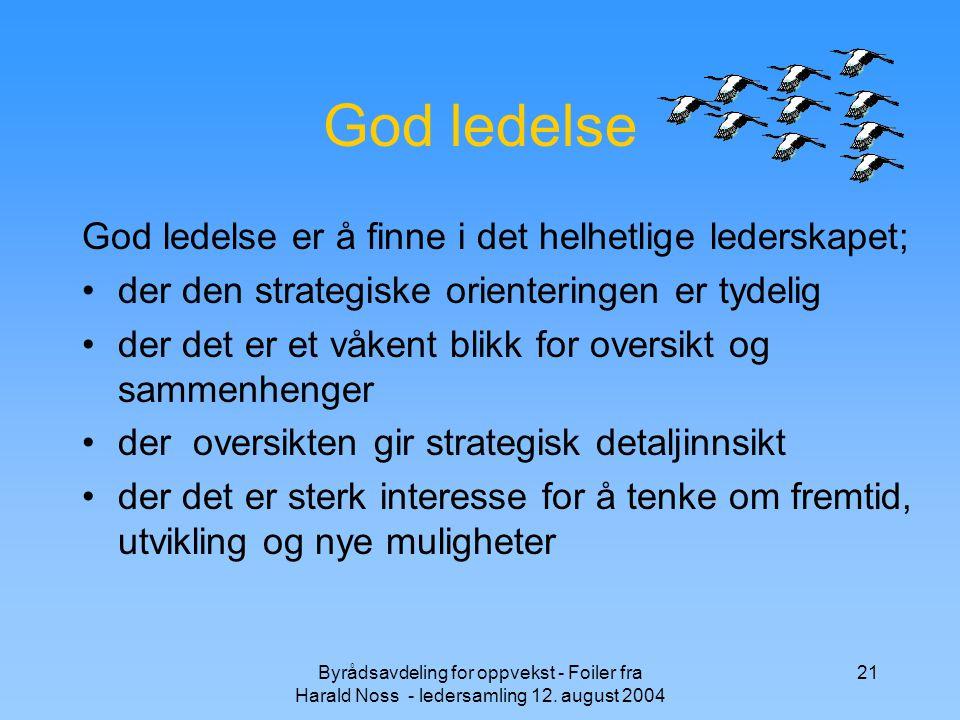 God ledelse God ledelse er å finne i det helhetlige lederskapet;