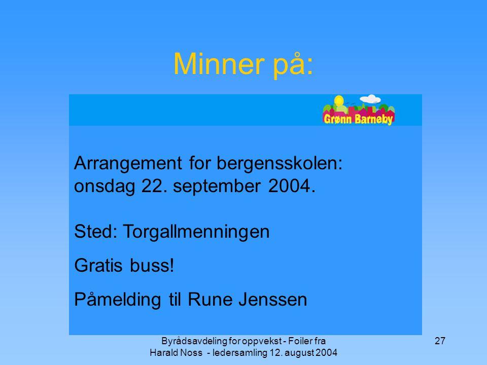 Minner på: Arrangement for bergensskolen: onsdag 22. september 2004. Sted: Torgallmenningen. Gratis buss!
