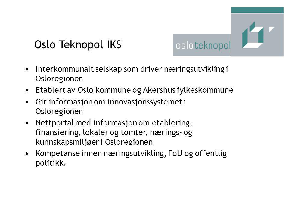 Oslo Teknopol IKS Interkommunalt selskap som driver næringsutvikling i Osloregionen. Etablert av Oslo kommune og Akershus fylkeskommune.