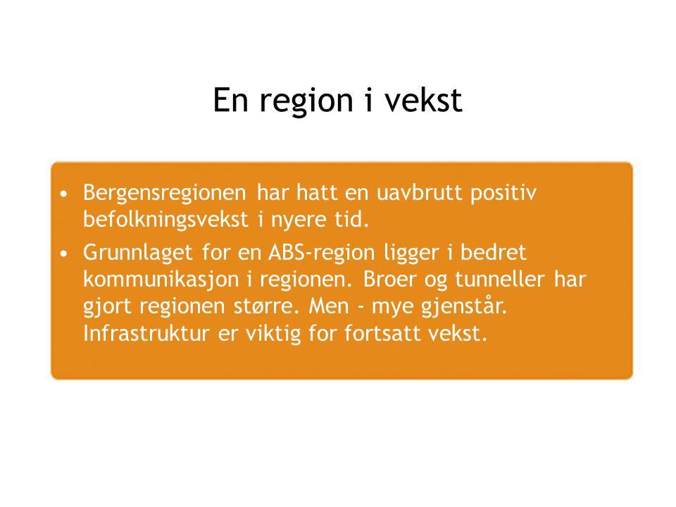 En region i vekst Bergensregionen har hatt en uavbrutt positiv befolkningsvekst i nyere tid.